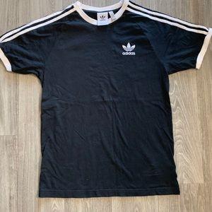 Adidas 3 stripes black t shirt